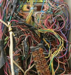 disordered interconnection of landline telephone wires in junction box  [ 1125 x 1600 Pixel ]