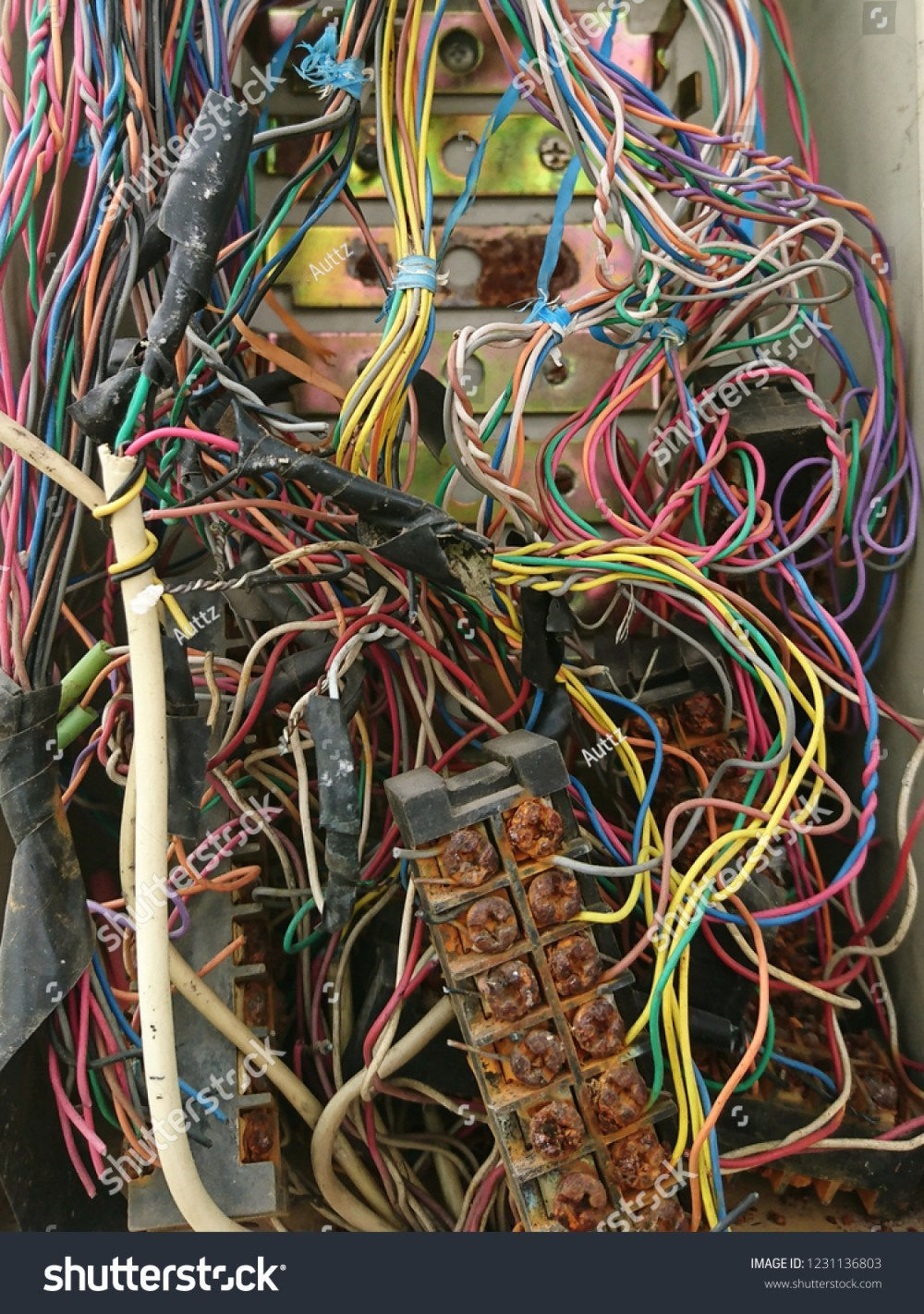 medium resolution of disordered interconnection of landline telephone wires in junction box