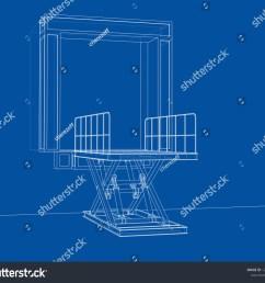 dock leveler concept 3d illustration wire frame style [ 1500 x 1327 Pixel ]