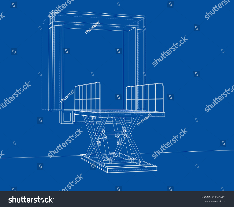 hight resolution of dock leveler concept 3d illustration wire frame style