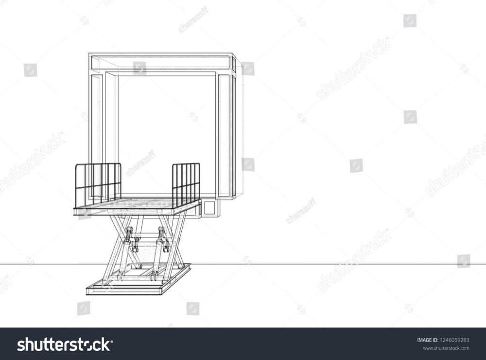 medium resolution of dock leveler concept 3d illustration wire frame style