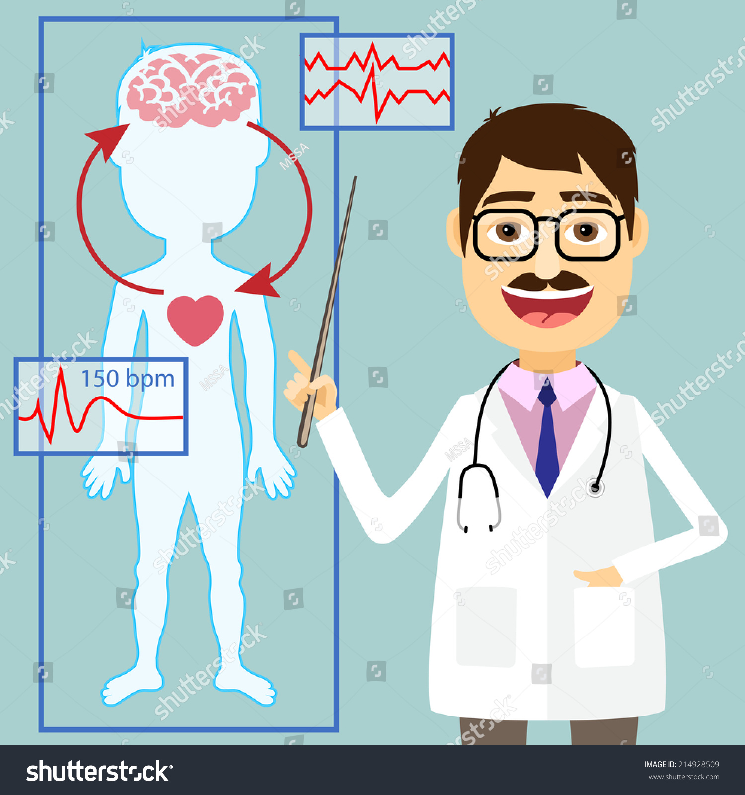 hight resolution of doctors says illustration of doctor pointing to diagram of blood pressure and circulatory system between