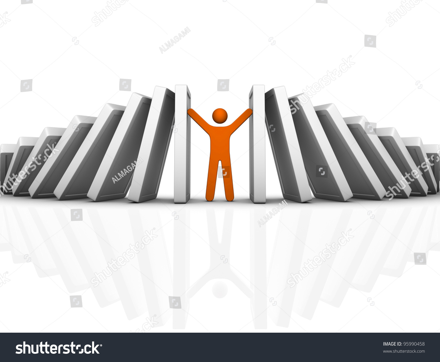 Domino Effect And Problem Solving Stock Photo 95990458 : Shutterstock
