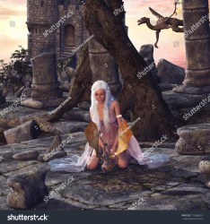 dragon fantasy woman dragons castle lady scene shutterstock playing