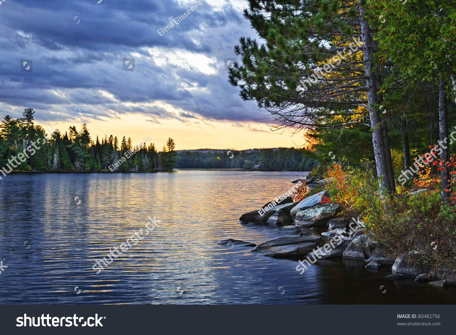 Dramatic Sunset And Pines At Lake Of Two Rivers In