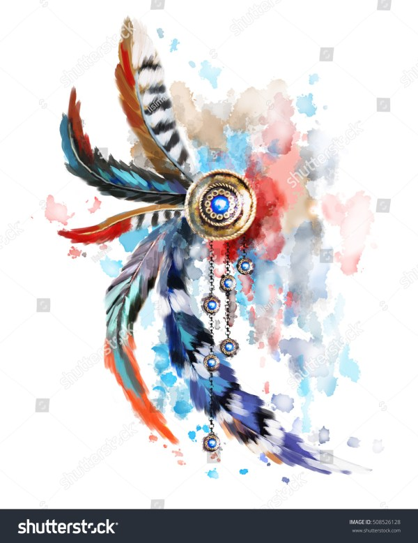 dreamcatcher red blue feather gold
