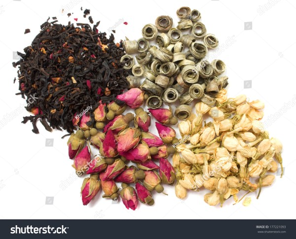 Dried Flowers Of Jasmine And Rose White And Black Tea On