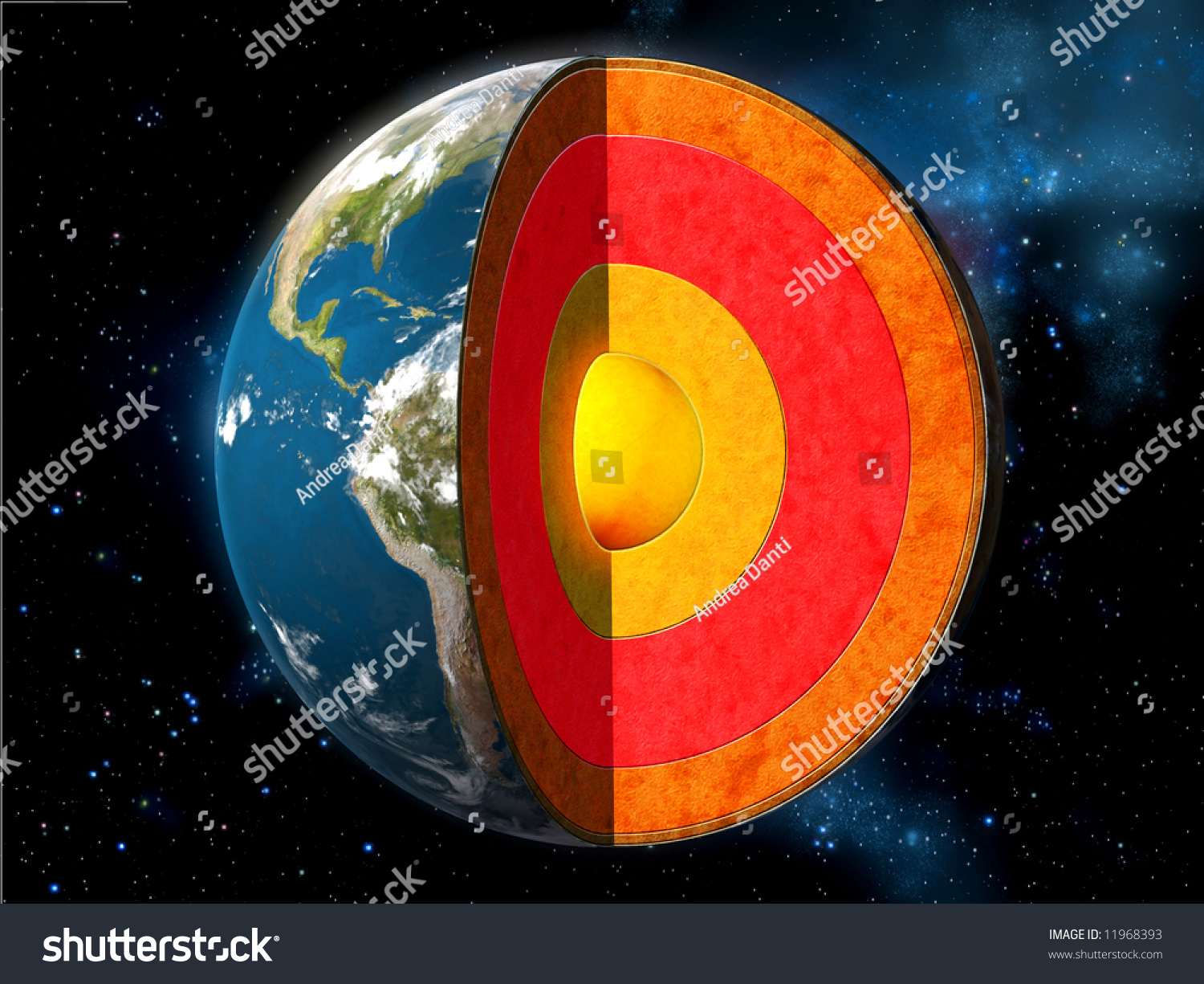 Earth Cross Section Showing Internal Structure Stock
