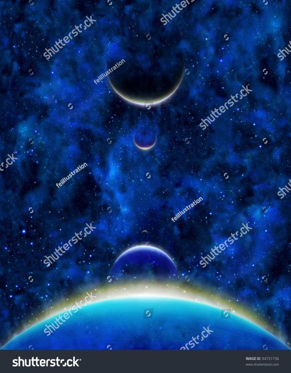 Earth Heavenly Bodies Celestial With Color Lines Above In Blue Stars Space Background