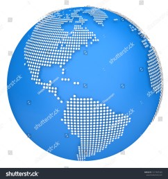 earth map globe 3d dotted model side of north and south america 3d illustration  [ 1500 x 1600 Pixel ]