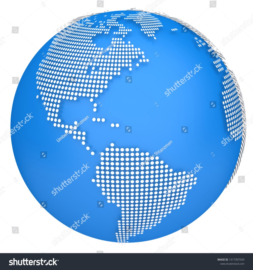 medium resolution of earth map globe 3d dotted model side of north and south america 3d illustration