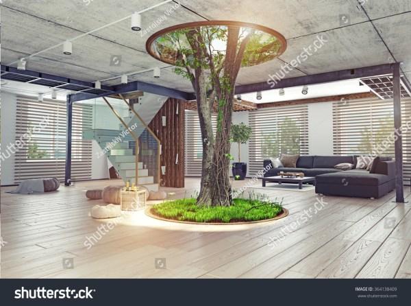 Eco Design Modern Interior Real Living Stock Illustration