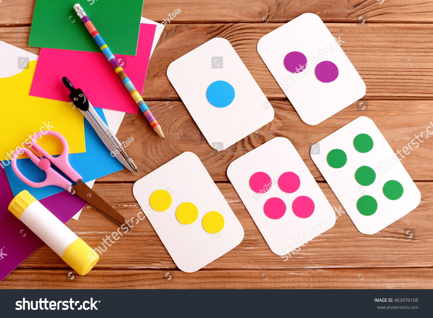 Education Cards Kids Learning Colours Teaching Stock Photo