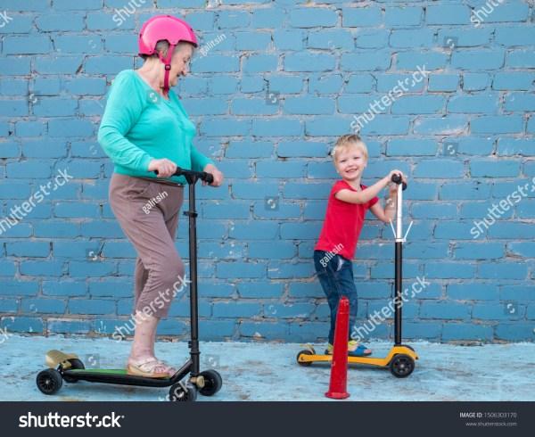 Helmet Pink Grandmother Grandson