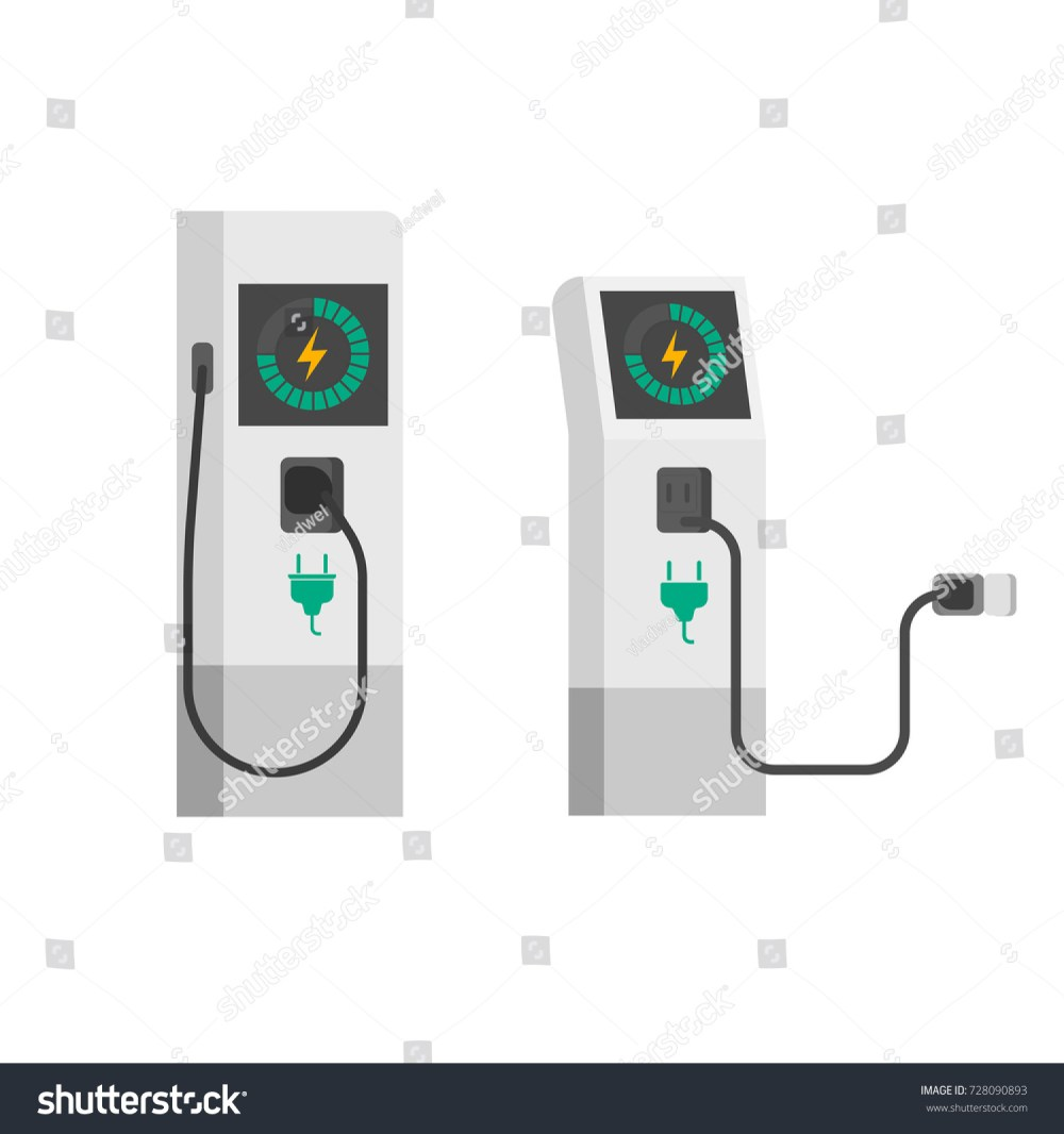 medium resolution of electric car charger illustration flat cartoon electric vehicle charging station with wire cable isolated on white background clipart image