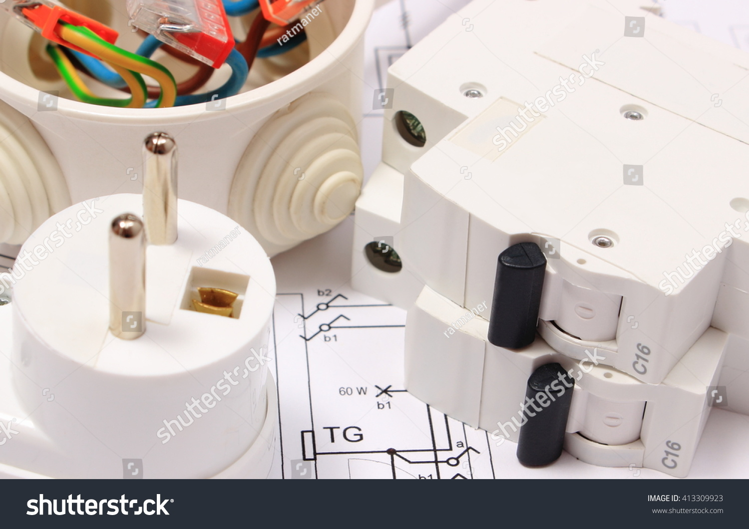 hight resolution of electric fuse and plug copper wire connections in electrical box on construction drawing of house