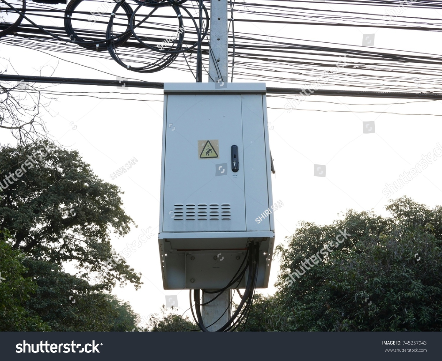 hight resolution of electric pole and transformers box