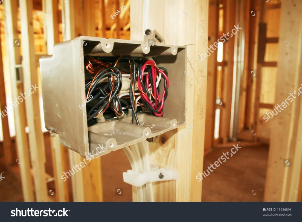 medium resolution of electrical box with wiring in a new home under construction