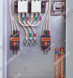 electrical cabinet with contactors circuit breakers voltage relays and through terminals electrical cables [ 1001 x 1600 Pixel ]
