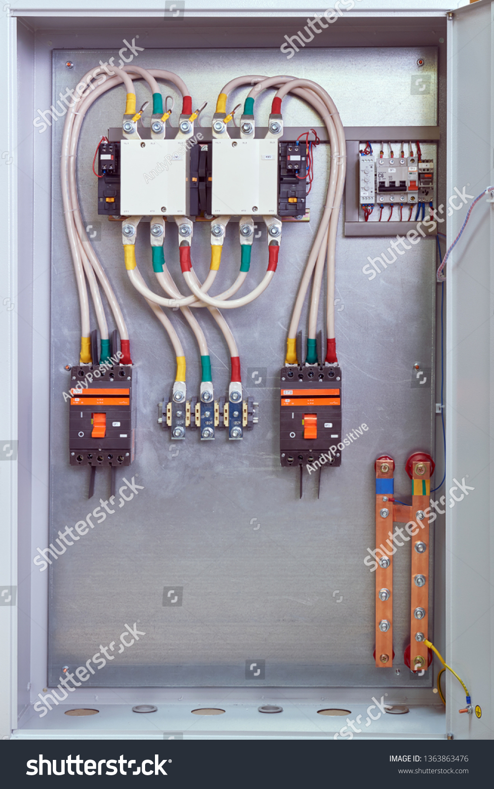 hight resolution of electrical cabinet with contactors circuit breakers voltage relays and through terminals electrical cables