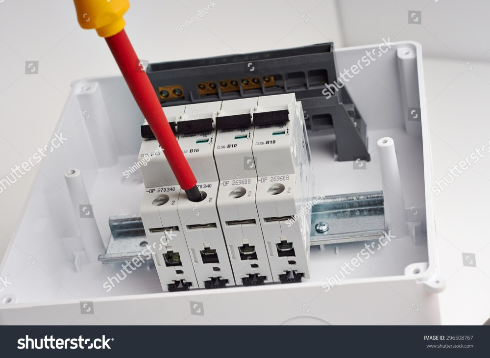 medium resolution of electrical cabinet with four automatic fuses with screwdriver ready for wiring and installing electricity
