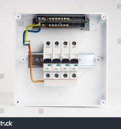 electrical cabinet with four automatic fuses with wires ready for installing electricity distribution box [ 1500 x 1096 Pixel ]