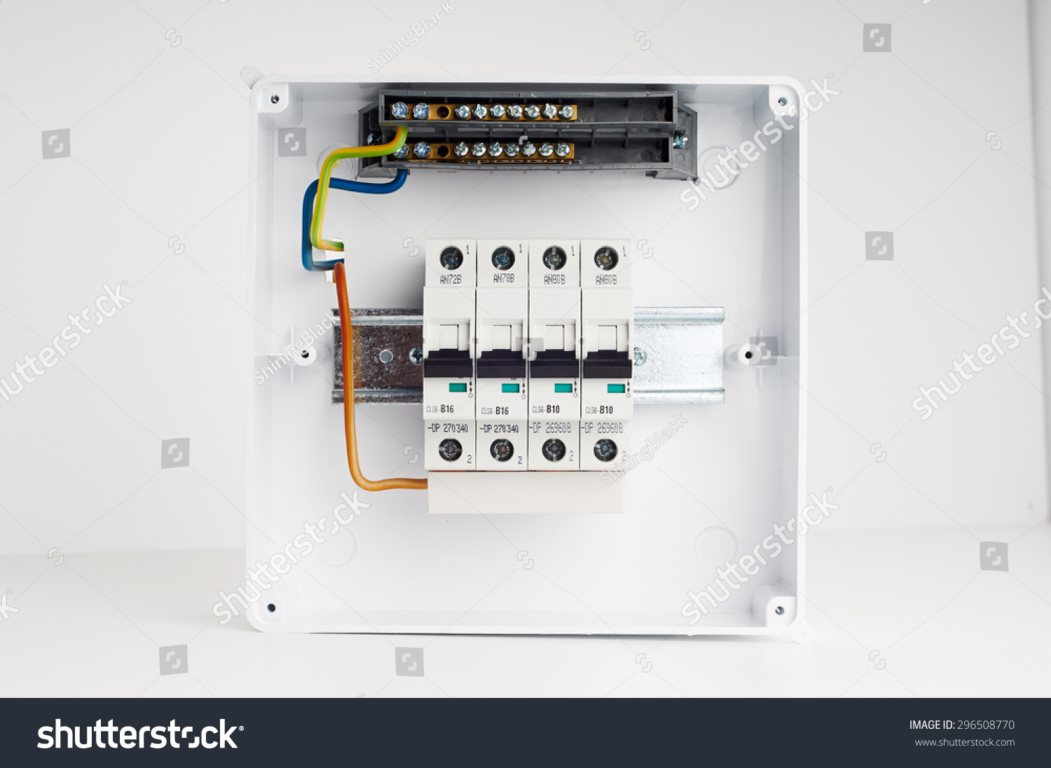hight resolution of electrical cabinet with four automatic fuses with wires ready for installing electricity distribution box