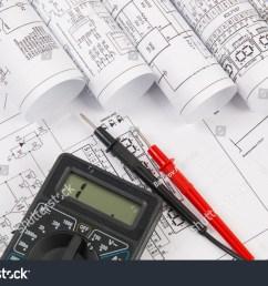 electrical engineering drawings and digital multimeter [ 1500 x 1101 Pixel ]