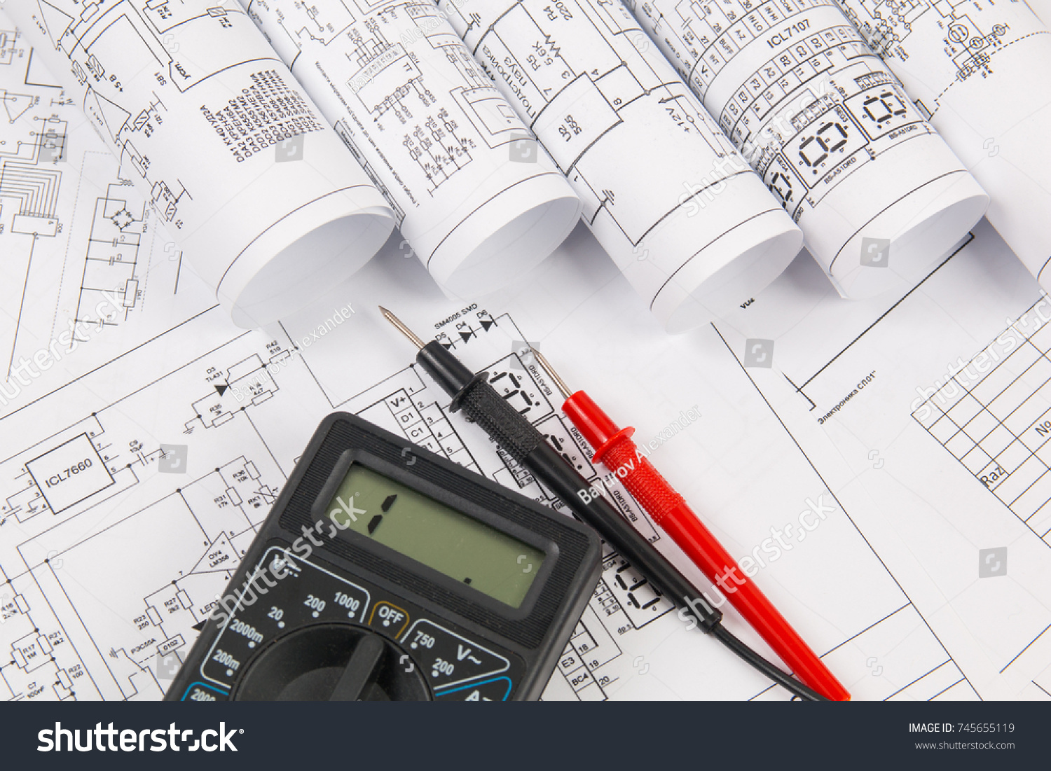 hight resolution of electrical engineering drawings and digital multimeter