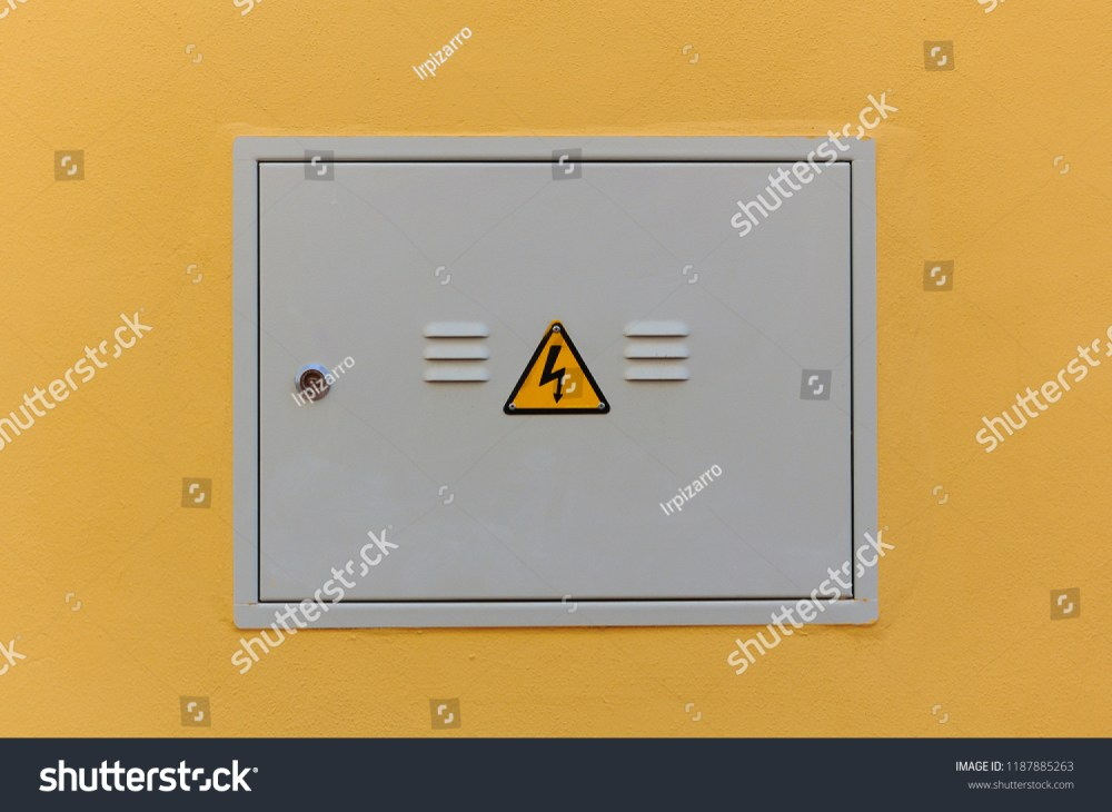 medium resolution of electrical panel closed fuse box on a wall outside of a house
