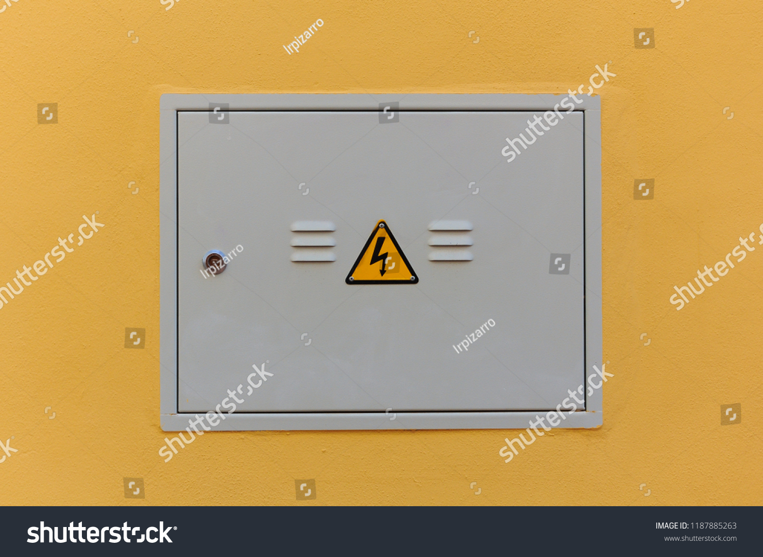 hight resolution of electrical panel closed fuse box on a wall outside of a house