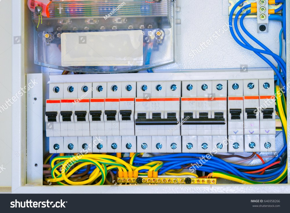 medium resolution of electrical panel with a lot of wires and switches cabling is connected to circuit breakers