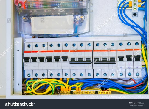 small resolution of electrical panel with a lot of wires and switches cabling is connected to circuit breakers