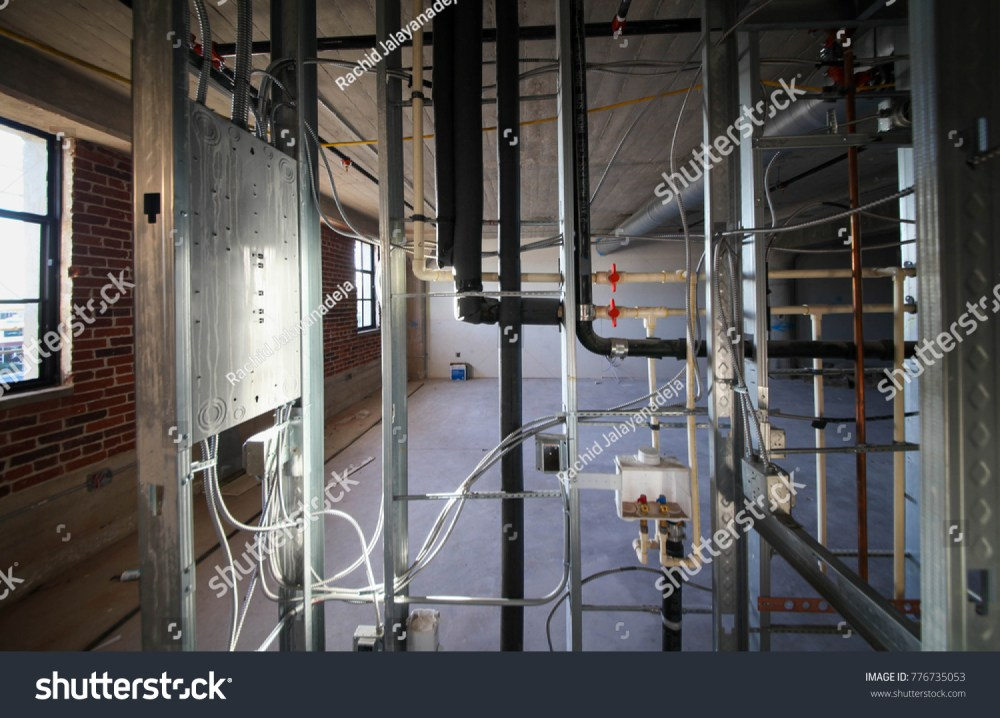 medium resolution of electrical wiring with plumbing and piping work inside metal stud wall
