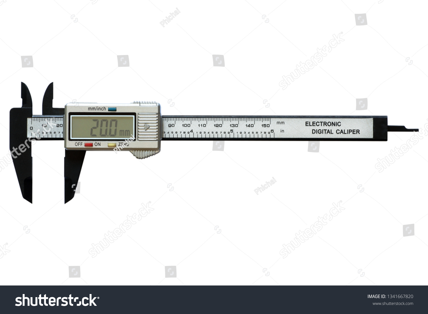 hight resolution of electronic digital vernier calipers isolated on white background