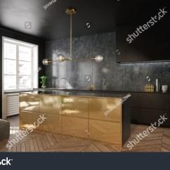 Gold Kitchen Interior Design Elegant Black 3 Stock Illustration 777217603 And D Render