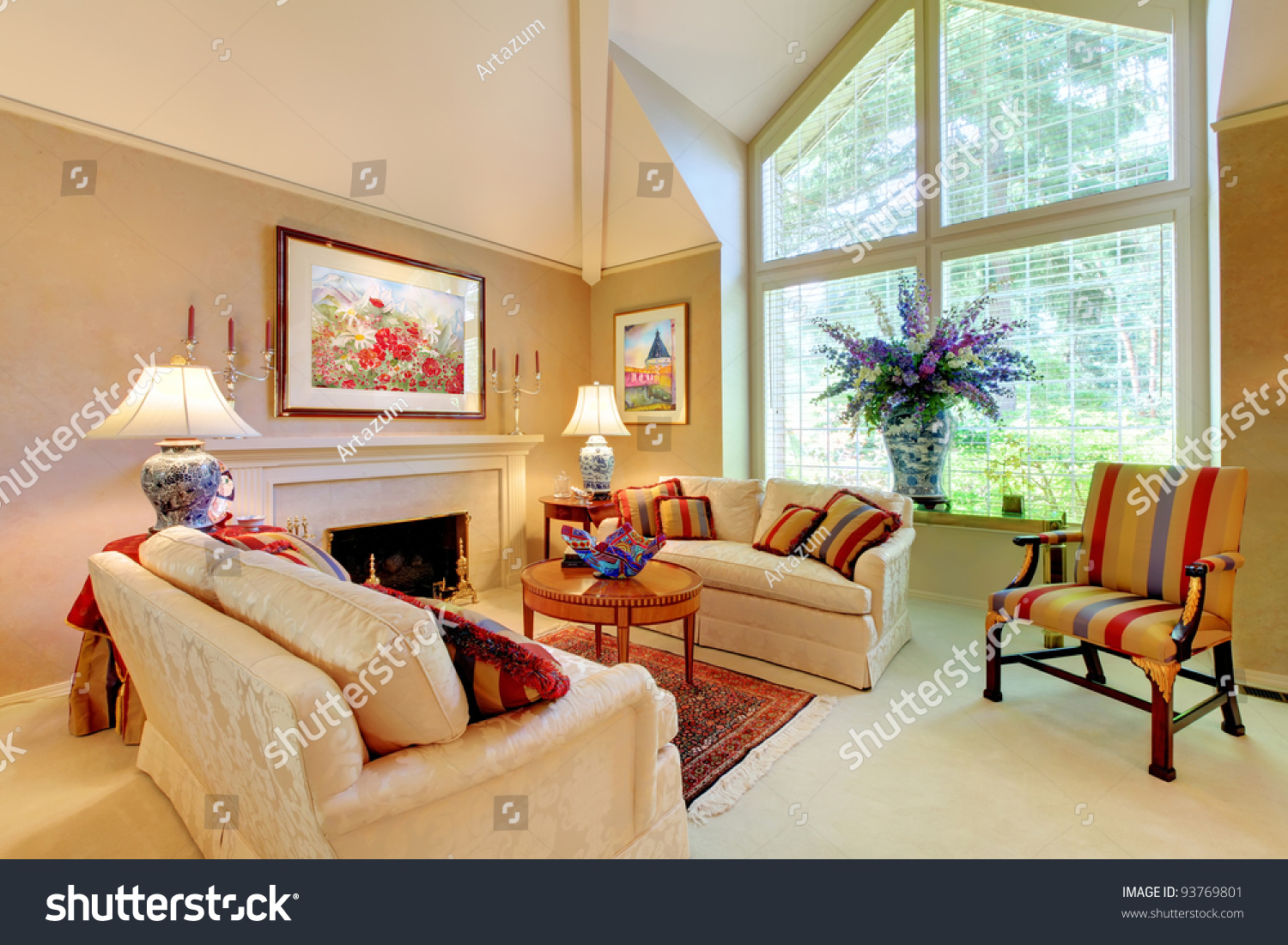 sofa floor lamp curved sectional sofas at macy s elegant luxury living room fireplace large stock photo ...