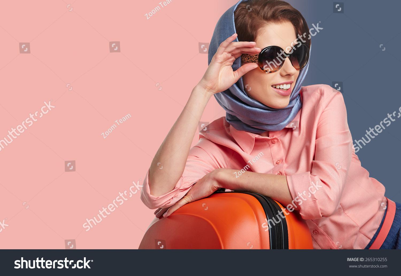 Elegant Woman Suitcase Travel Stock Photo 265310255