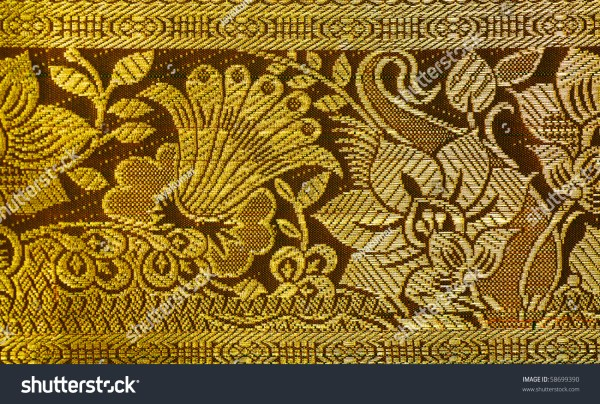 Embroidery Silk Sari Border White Background Stock