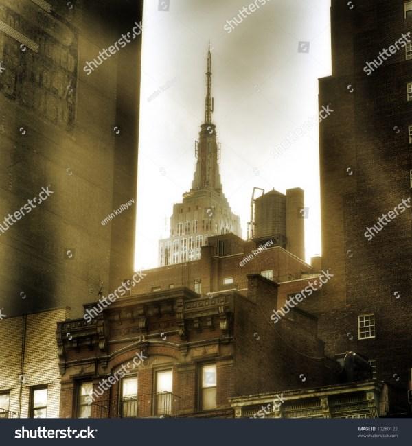 Empire State Building York City Manhattan United States Of America - Sepia Stock