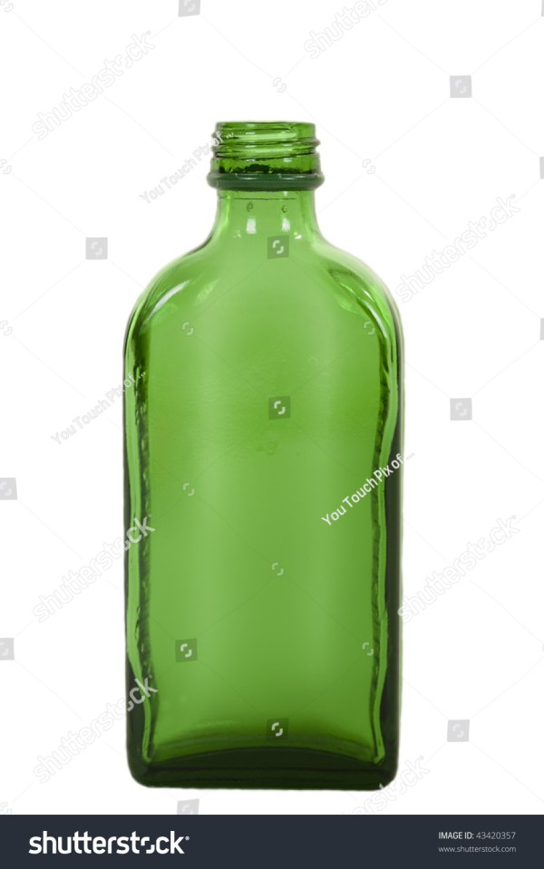 Empty Green Liquor Glass Bottle Isolated Stock