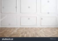 Empty Room With Classic White Wood Paneling On The Walls