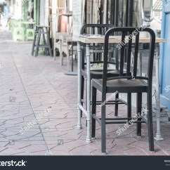 Retro Cafe Table And Chairs Hospital Recliner Chair Empty Restaurant Vintage Effect Stock Photo
