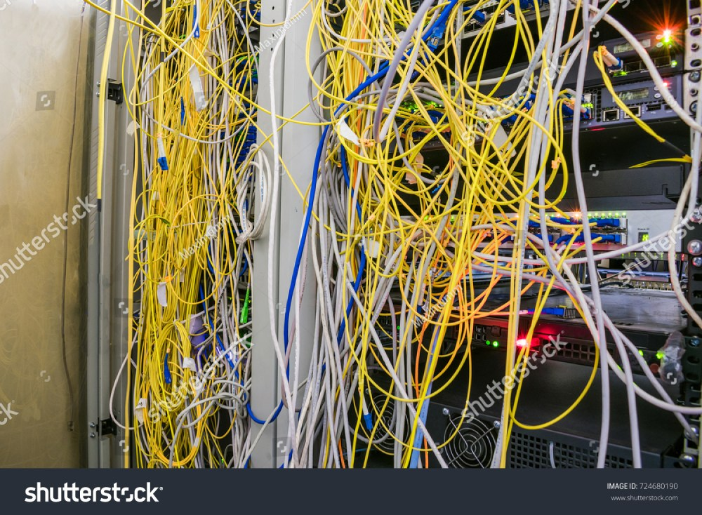 medium resolution of entangled internet wires are in the server room disorderly connection of optical cables with computer