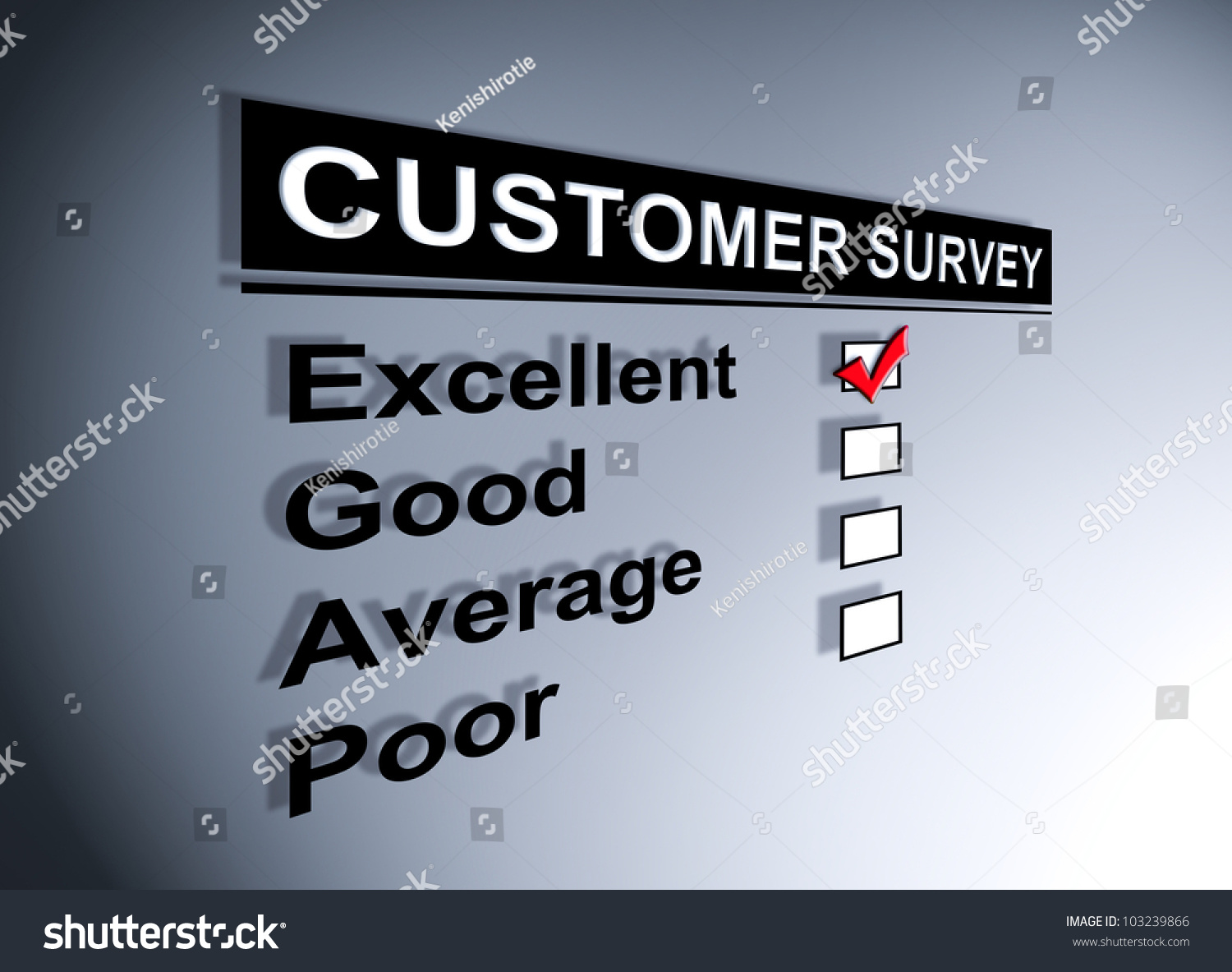 Excellent Experience Checkbox Ticked In Customer Service Survey Form Stock Photo