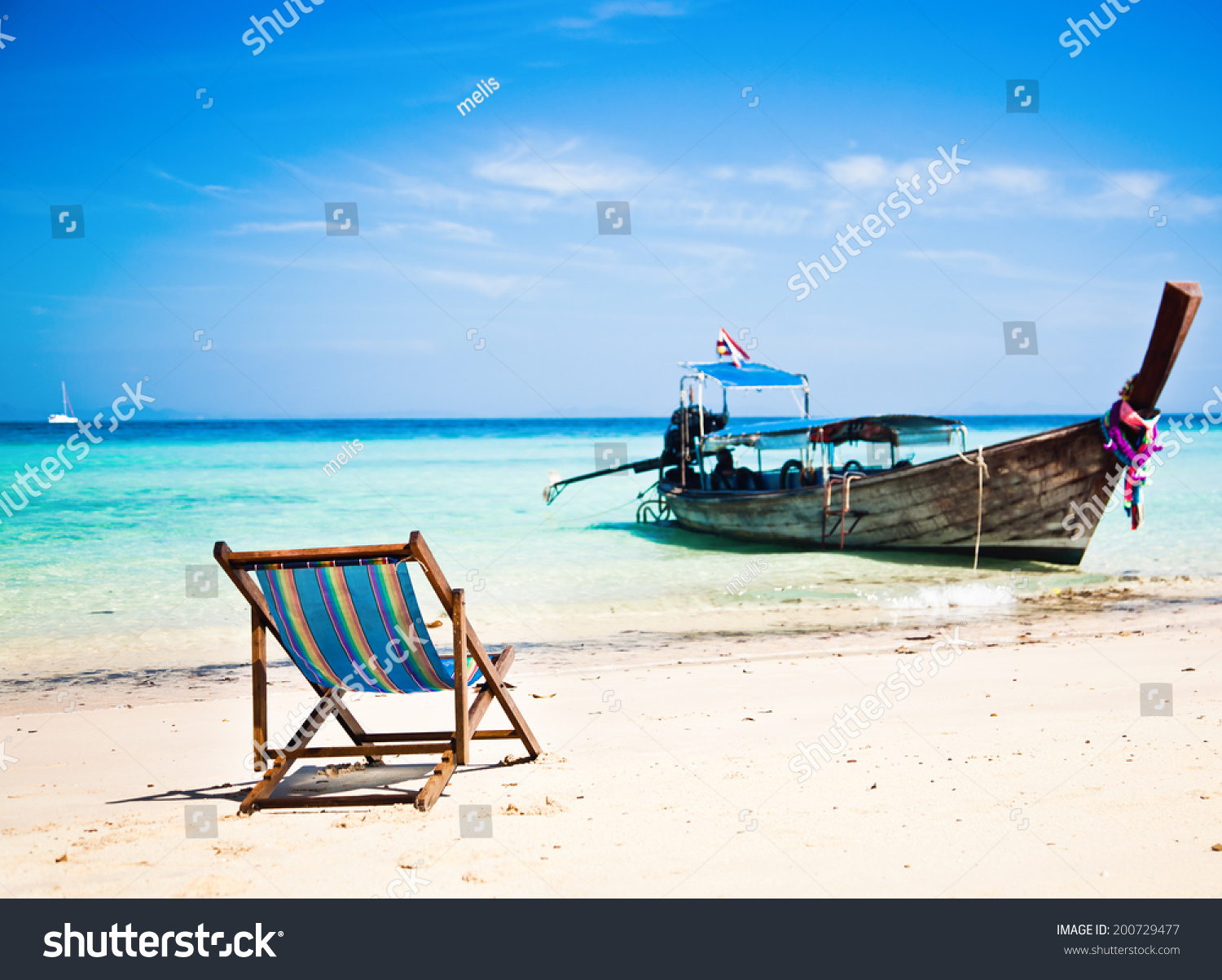 Long Beach Chair Exotic Beach Holiday Background Beach Chair Stock Photo