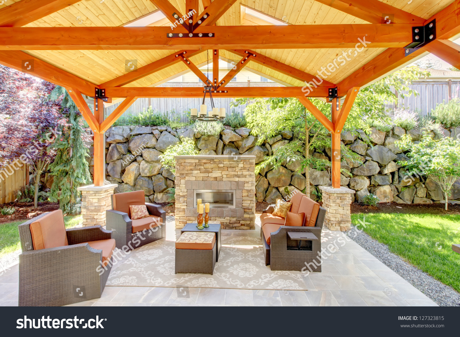 Exterior Covered Patio With Fireplace And Furniture. Wood Ceiling With Skylights. Stock Photo 127323815 : Shutterstock