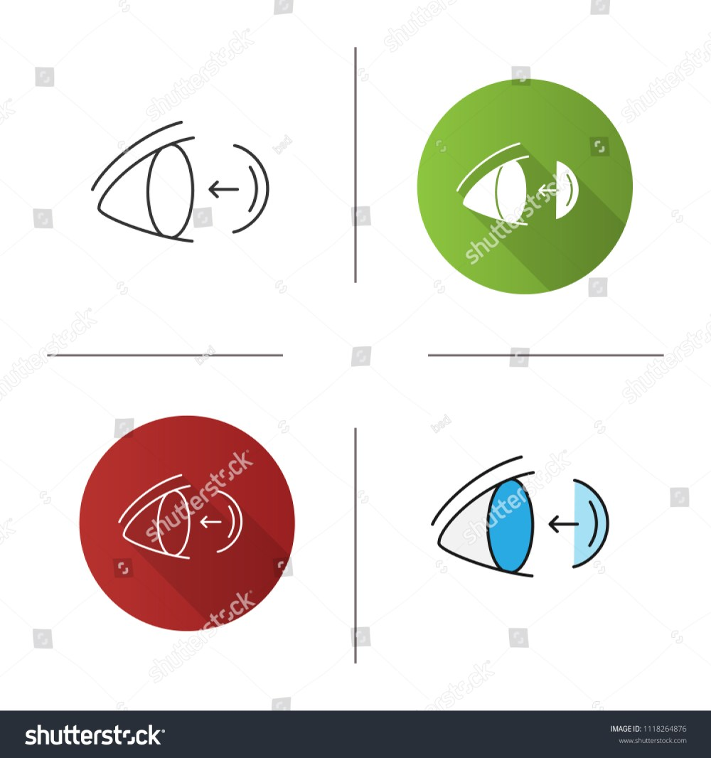 medium resolution of eye contact lenses putting on icon flat design linear and color styles isolated