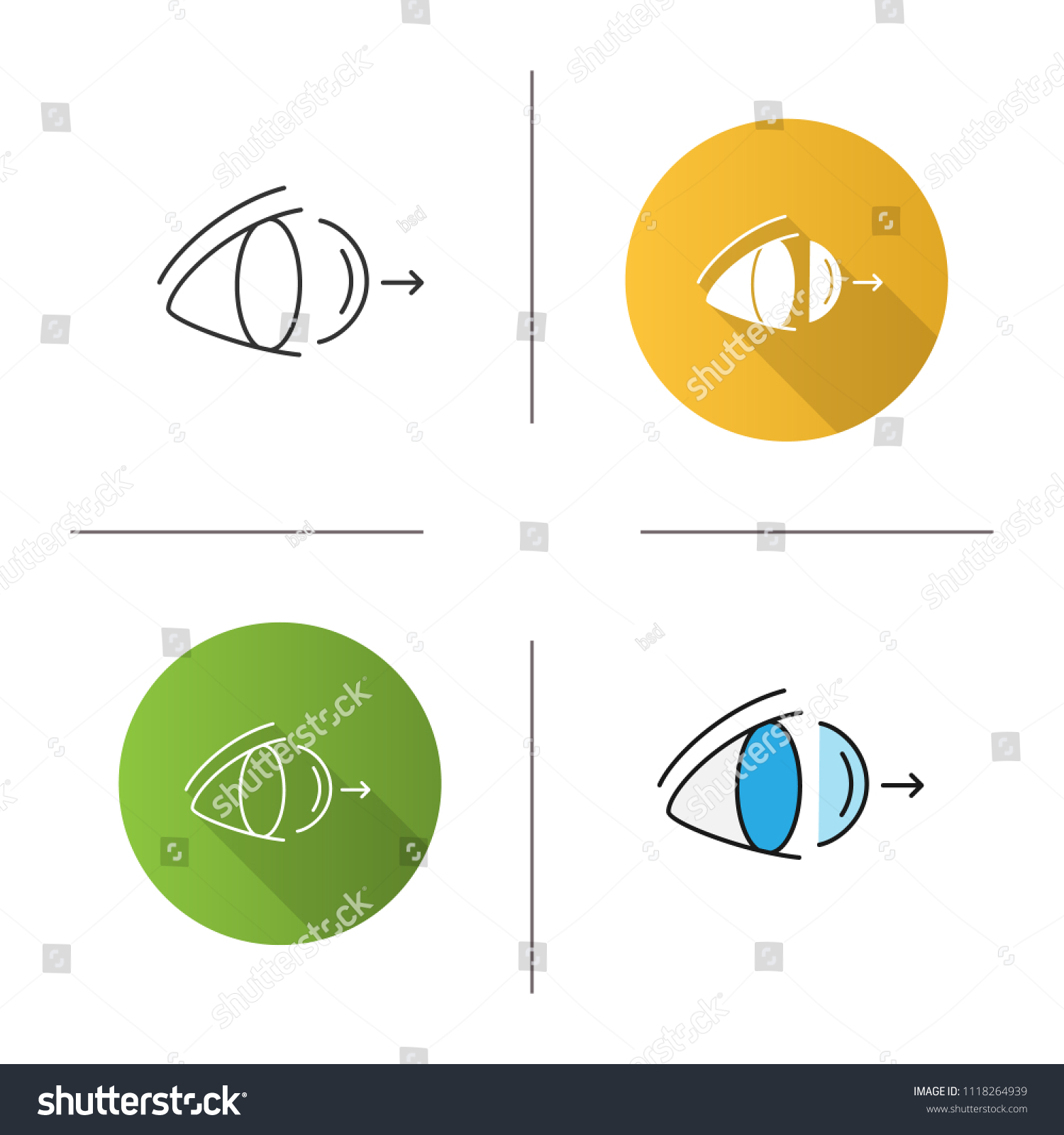 hight resolution of eye contact lenses removing icon flat design linear and color styles isolated raster