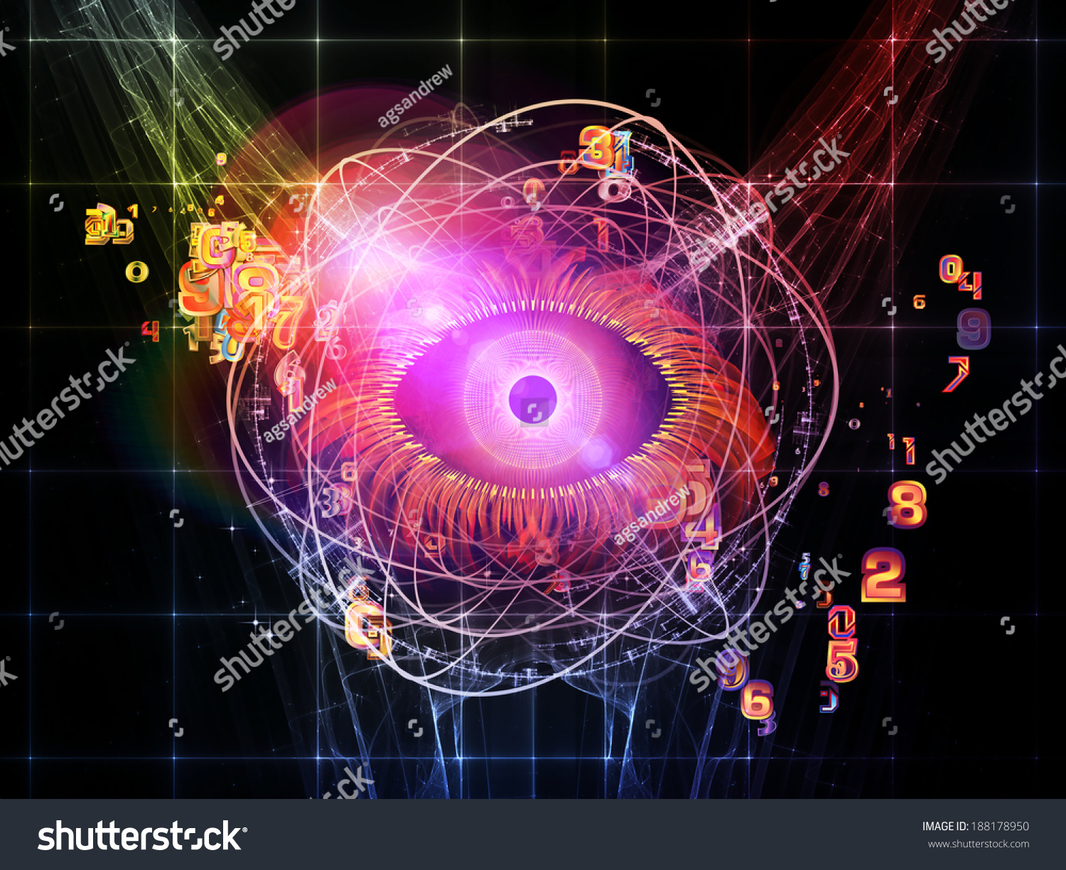 hight resolution of eye particle series design composed of eye shape numbers and fractal elements as a